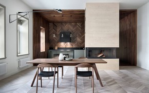 Picture design, interior, fireplace, dining room