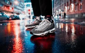 Picture light, night, lights, street, feet, people, sneakers, CROs, bokeh
