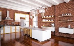 Wallpaper kitchen, modern, design