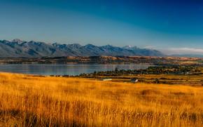 Wallpaper USA, autumn, grass, the sky, plain, lake, Montana, Rocky Point, panorama, trees, valley, mountains, houses, ...