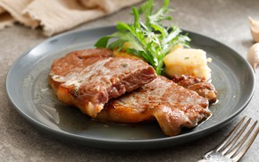 Picture greens, steak, Cutlery