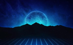 Wallpaper Mountains, Music, Stars, Neon, Planet, Hills, Background, Synthpop, Darkwave, Synth, Retrowave, Synthwave, Synth pop