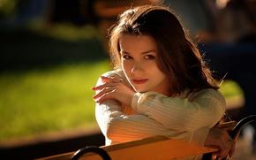 Picture girl, brunette, shop, girl, simpotyazhka, brunette, bench, cutie
