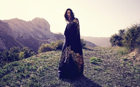 Picture the sun, landscape, mountains, dress, brunette, hairstyle, singer, photoshoot, Lana Del Rey, Lana Del Rey, …
