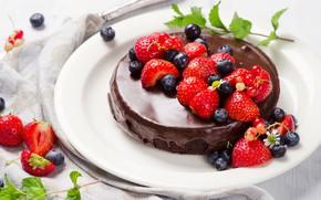 Wallpaper berries, cake, cocolate cakes, cream, chocolate, dessert