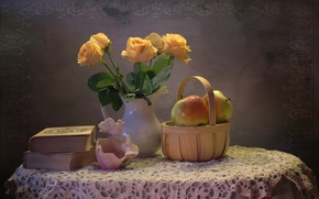 Picture apples, books, roses, still life