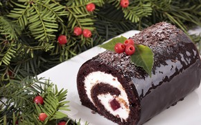 Picture berries, Christmas, plate, roll, chocolate roll, Christmas roll
