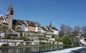 Picture Switzerland, the Reuss river, the Canton of Aargau, the town of Bremgarten