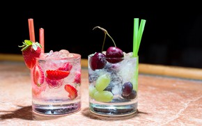 Picture cherry, berries, strawberry, grapes, cocktail, glasses, drinks, tube