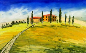 Wallpaper Tuscany, picture, Italy, landscape, house