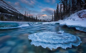 Picture ice, river, Canada, Yukon