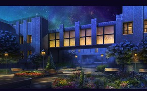Picture night, the building, plantings, Patio at Night