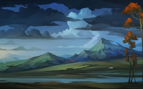 Picture the sky, clouds, trees, landscape, mountains, art, The Banner Saga