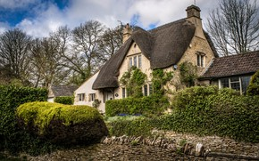 Picture trees, house, stones, England, garden, village, the bushes, Castle Combe