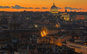 Picture lights, the evening, Rome, Italy, panorama, St. Peter's Cathedral