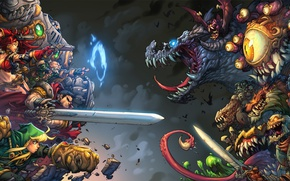 Picture art, demons, Battle chasers, warriror