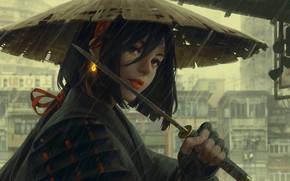 Picture rain, hat, armor, Japan, art, arm, wakizashi, Guweiz, woman warrior, gray city