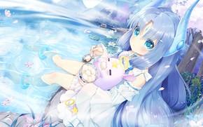 Picture Flowers, Girl, Lake, Anime, Food, Animal