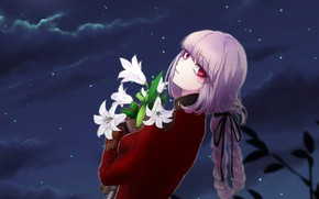 Picture girl, flowers, night, Lily, anime, art, Berserker, Florence Nightingale, Fate / Grand Order