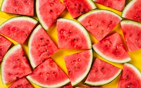 Wallpaper watermelon, yellow background, slices, yellow background, watermelon