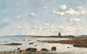 Picture landscape, picture, Eugene Boudin, Eugene Boudin, Saint-Vaast-La-Hougue. The rocks and the Fort