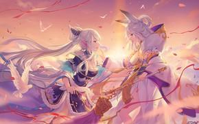 Picture girls, anime, art, youkai