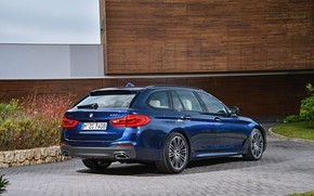 Picture vegetation, the building, pavers, BMW, back, side view, universal, xDrive, Touring, 530d, 5, dark blue, …