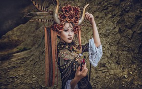 Wallpaper Asian, horns, girl, headdress, decoration, outfit, style, hands, pose