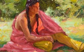 Picture woman, Joseph Henry Sharp, Taos Shade