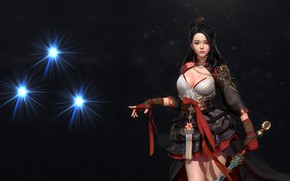 Picture girl, weapons, warrior, fantasy, art, costume design, Hanbok, kong R