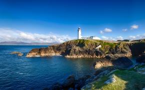 Picture clouds, rocks, lighthouse, Ireland, Ireland, sea