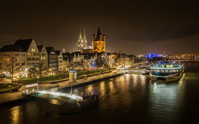 Picture night, lights, river, Cologne, Rhine, Germania