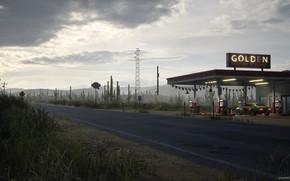 Picture station, highway, cacti, Desert Gas Station, Golden Gasoline