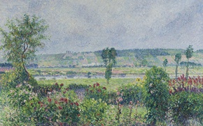 Wallpaper Camille Pissarro, Valley of the Seine near Dumps. Garden Of Octave Mirbeau, landscape, picture