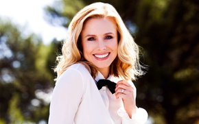Picture the sun, smile, background, butterfly, portrait, makeup, actress, hairstyle, blonde, blouse, white, bokeh, Kristen Bell, …