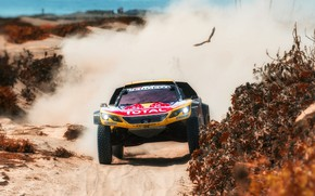 Picture Sand, Auto, Dust, Sport, Machine, Speed, Race, Peugeot, Lights, Red Bull, Hawk, Rally, Dakar, Dakar, …