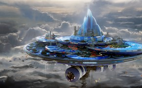 Picture fantasy, sky, architecture, sci-fi, Science fiction, buildings, spaceships, fantasy art, city, city of clouds, digital ...