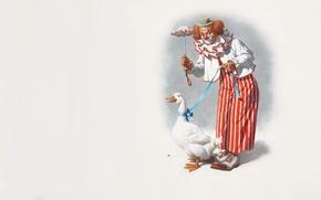 Picture mood, clown, art, goose, Arthur Saron Sarnoff