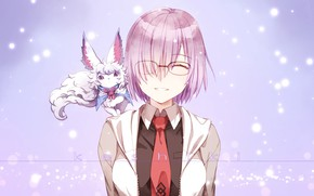 Picture girl, background, lilac, anime, art, dog, characters, animal, Fate / Grand Order