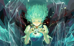 Picture lights, magic, crystals, touhou, art, flower, closed eyes, Cirno, Touhou Project, Antique White, ice fairy