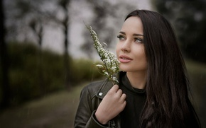 Picture sprig, rain, overcast, portrait, makeup, brunette, jacket, hairstyle, beauty, bokeh, Angelina Petrova, Angelina Petrova, Javier …
