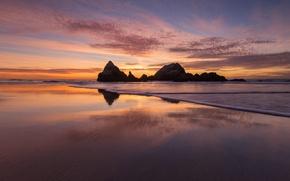 Picture sea, rocks, shore, tide, CA, San Francisco, USA, Lands End