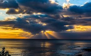 Picture sea, clouds, sunset, coast