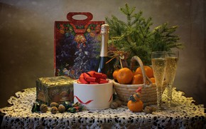 Picture branches, table, holiday, bottle, new year, Christmas, glasses, candy, nuts, still life, champagne, basket, coniferous, …