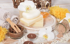 Picture flowers, towel, soap, relax, spa, the oil from apricot