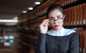 Picture look, girl, pose, books, portrait, makeup, dress, brunette, glasses, hairstyle, bokeh, shelves, serious