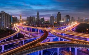 Picture China, building, road, China, Shanghai, Shanghai, night city