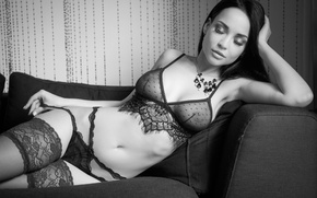 Wallpaper chest, pose, model, panties, stockings, necklace, makeup, figure, brunette, hairstyle, lies, black and white, beauty, ...