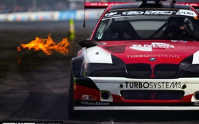 Wallpaper fire, BMW, sport, race, track, drift