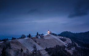 Picture night, mountain, temple